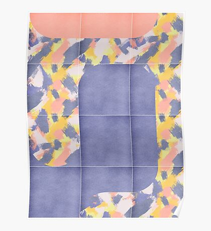 Messy Painted Tiles 02 #redbubble #midmod Poster