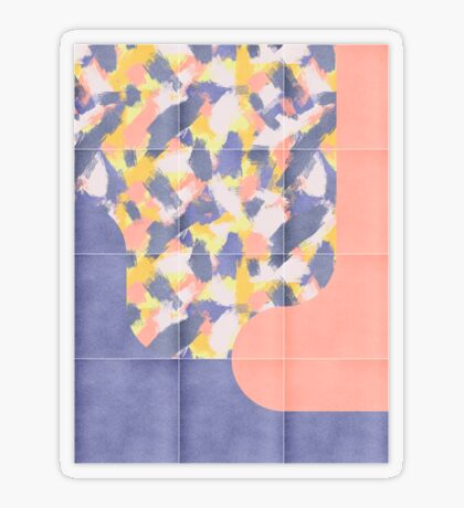 Messy Painted Tiles 03 #redbubble #midmod Transparent Sticker