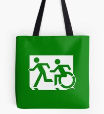 Emergency Exit Sign, with the Accessible Means of Egress Icon and Running Man, part of the Accessible Exit Sign Project Tote Bag