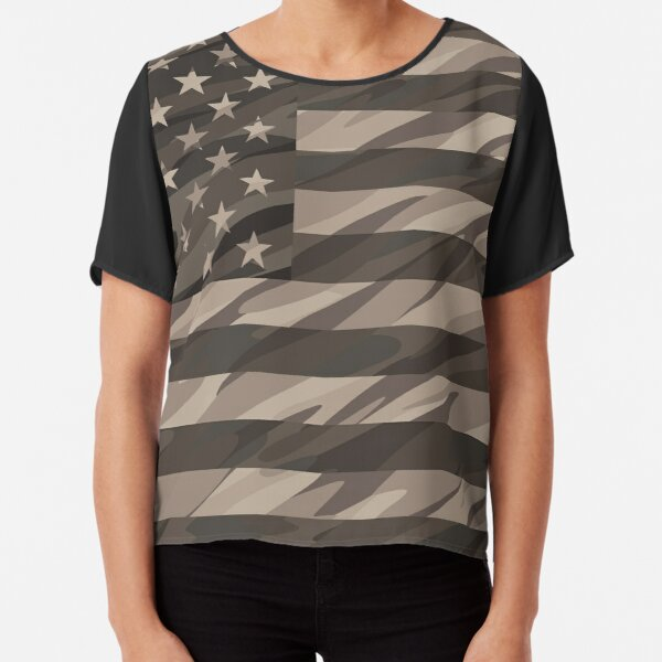 Patriotic Desert Tan Camo USA Flag Chiffon Top