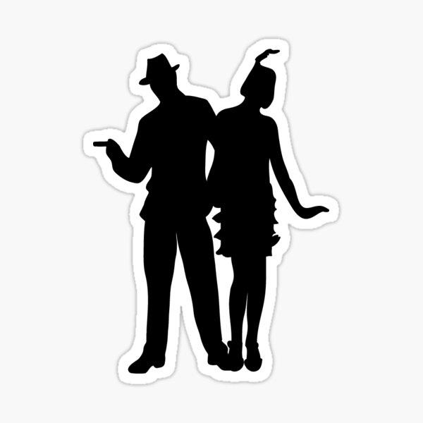 Roaring 20s Flapper Couple Silhouette Sticker