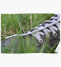 Nike Trainer In Lush Green Grass Poster