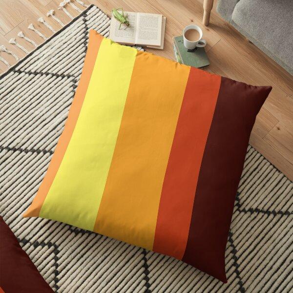 Orange Summer Stripes Floor Pillow