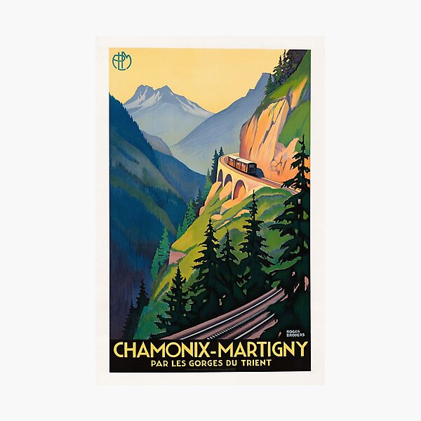 Vintage French Travel Poster - Chamonix Martigny Railway Photographic Print