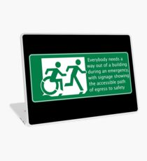 Everyone needs a way out of a building during an emergency, Accessible Exit Sign Project introducing the Accessible Means of Egress Icon Laptop Skin