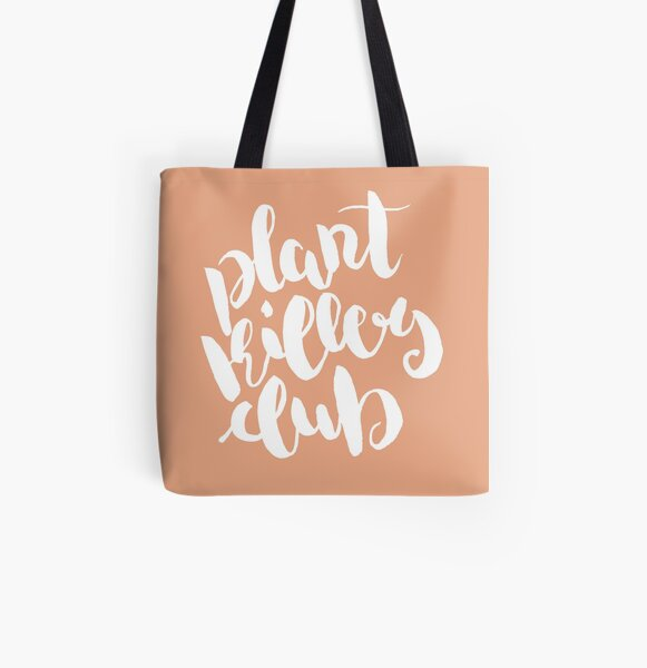 Plant Killers Club - White on Peach All Over Print Tote Bag