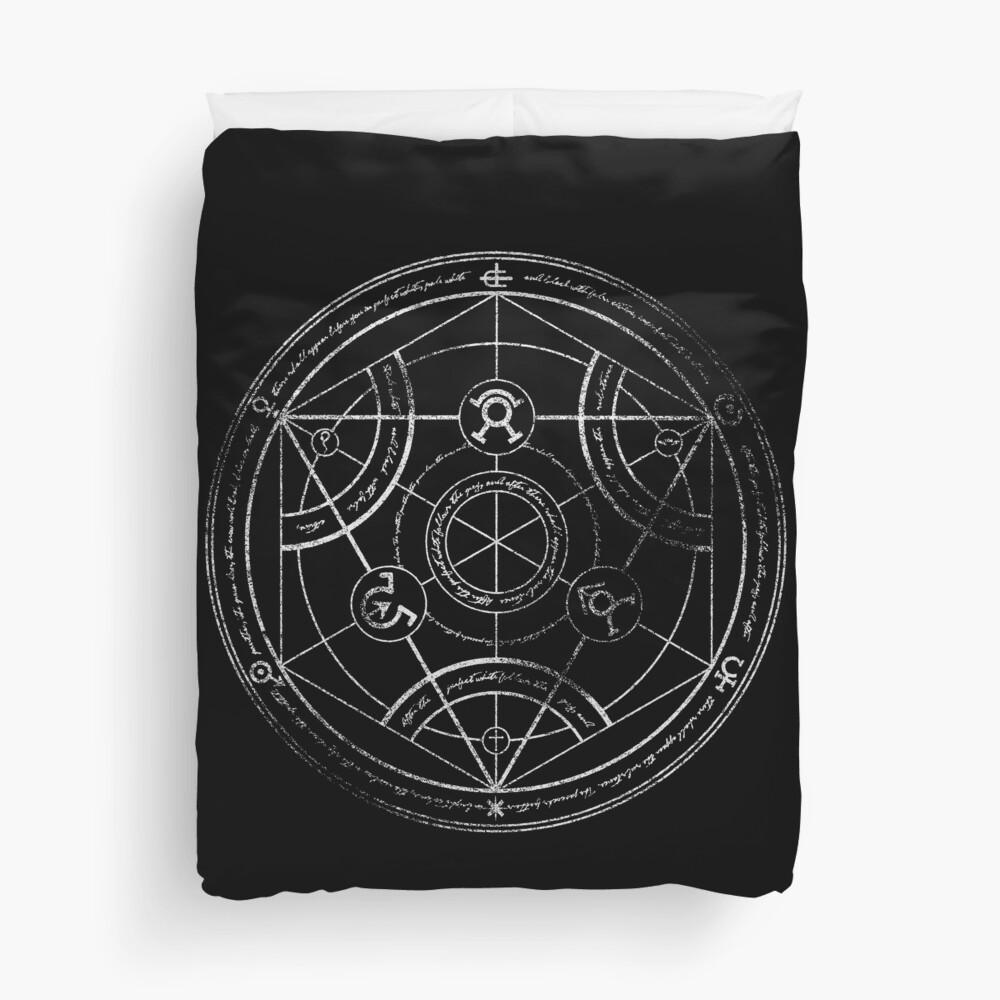 Human transmutation circle - chalk Duvet Cover