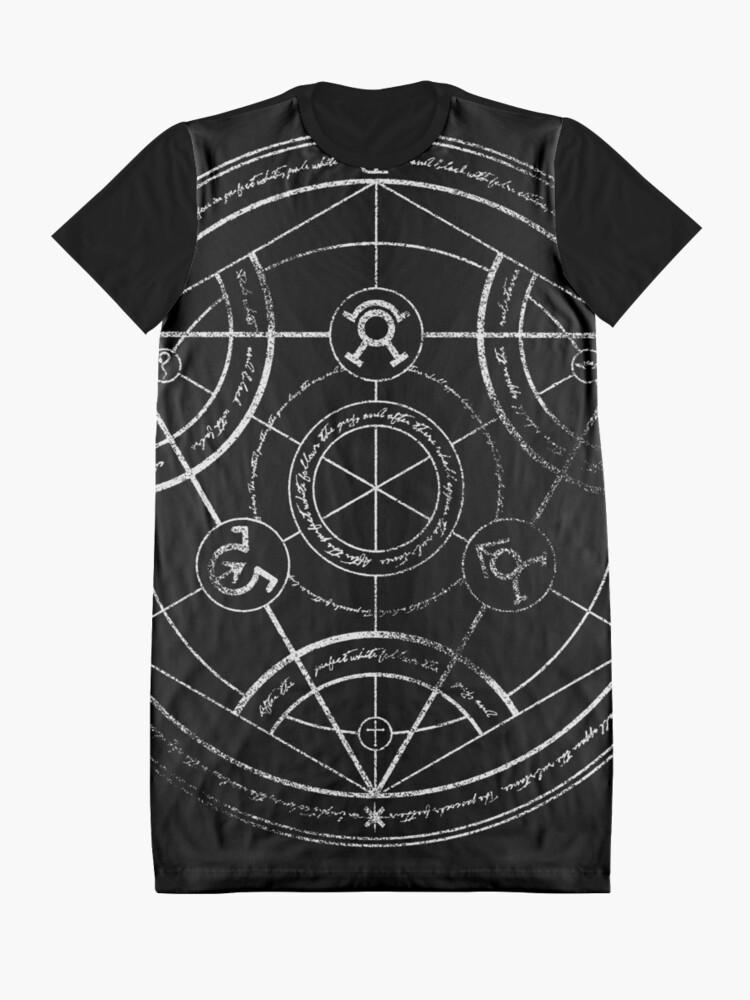 Alternate view of Human transmutation circle - chalk Graphic T-Shirt Dress