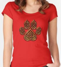 Celtic Knot Pawprint - Red Women's Fitted Scoop T-Shirt