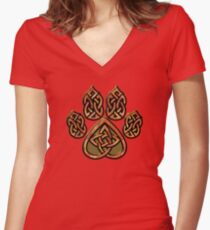 Celtic Knot Pawprint - Red Women's Fitted V-Neck T-Shirt