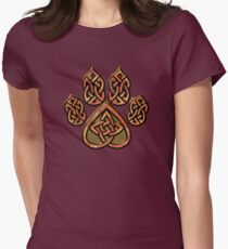 Celtic Knot Pawprint - Red Women's Fitted T-Shirt