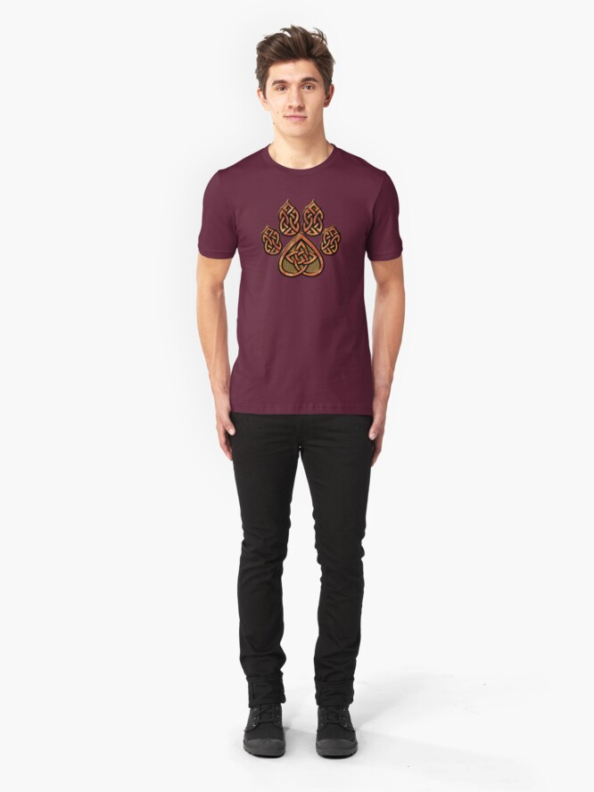 Alternate view of Celtic Knot Pawprint - Red Slim Fit T-Shirt