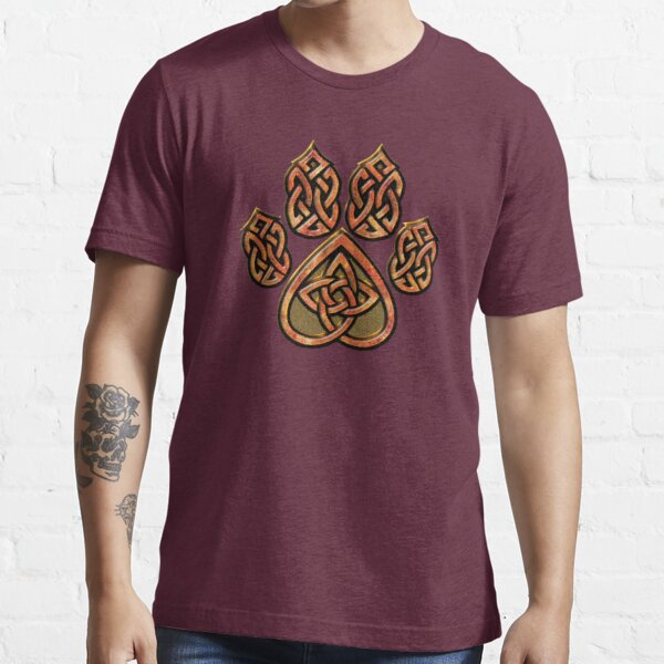 Celtic Knot Pawprint - Red Essential T-Shirt