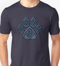 Celtic Knot Pawprint - Blue Unisex T-Shirt