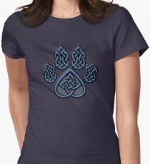 Celtic Knot Pawprint - Blue Women's Fitted T-Shirt