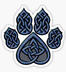 Celtic Knot Pawprint - Blue Sticker