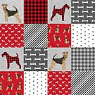 airedale patchwork bedding, airedale bedding, airedale dog design, cute dog, dog fabric, plaid, buffalo plaid, dog design  by PetFriendly