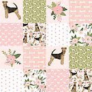 airedale floral patchwork, airedale bedding, girls dog bedding, girls dog design, airedale terrier gift, airedale mug, airedale lover by PetFriendly
