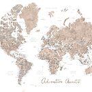Abenteuer erwartet, braune Aquarellweltkarte mit US-Landeshauptstädten von blursbyai