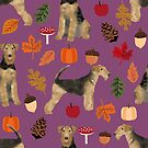 Airedale Terrier Autumn leaves, airedale terrier pattern, airedale leaves, airedale fall, cute dog, dog, dog bedding, airedale bedding, airedale lover, airedale gift by PetFriendly