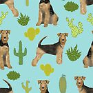 Airedale Terrier cactus dog, airedale bedding, airedale terrier pattern, airedale lover, airedale gift, airedale mug, airedale cactus design by PetFriendly