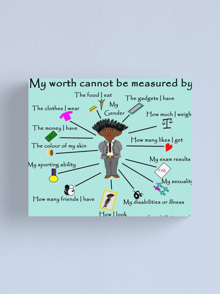 Alternate view of My worth cannot be measured by F Canvas Print