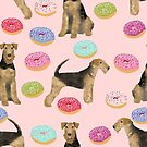 airedale terrier donuts, airedale terrier food, pastel airedale terrier, dog design, dog pattern, cute dog, dog gift, dog bedding, dogs and donuts bedding by PetFriendly