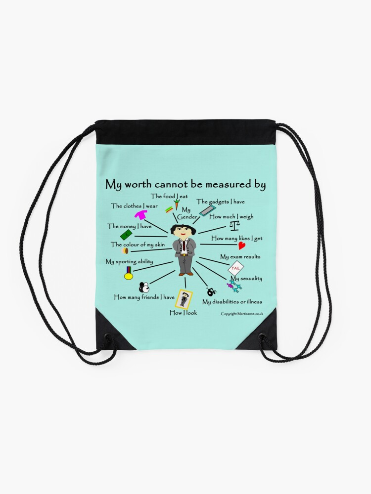 Alternate view of  My worth cannot be measured by G Drawstring Bag