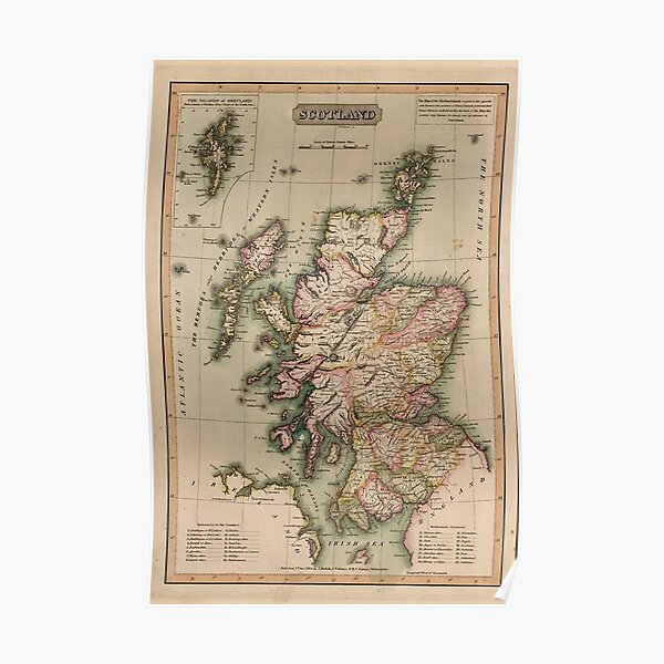 Vintage Map Of Scotland 1814 Poster