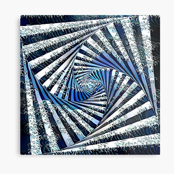 The Waves - Stylized Spinout Optical Illusion Metal Print