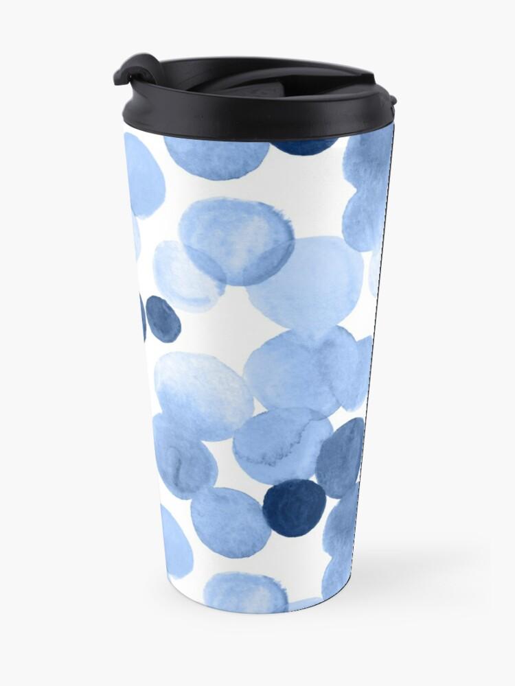 Alternate view of Watercolor Circles - Blue Travel Mug