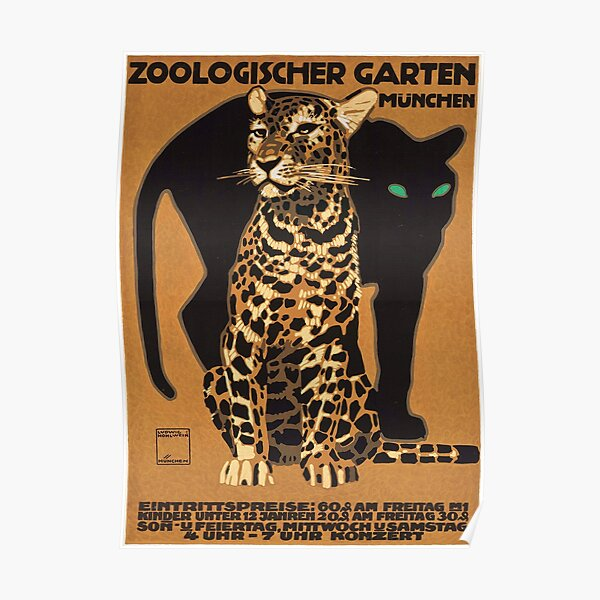 1912 Ludwig Hohlwein Leopard Munich Zoo Poster