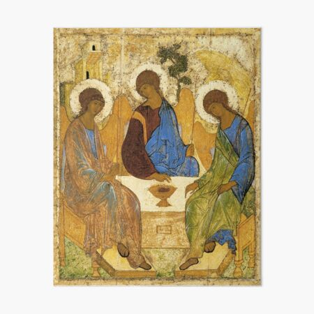 The Holy Trinity Painting Andrei Rublev Hospitality Of Abraham 1411 Art Board Print