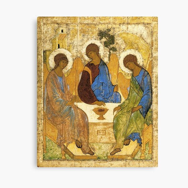 The Holy Trinity Painting Andrei Rublev Hospitality Of Abraham 1411 Canvas Print