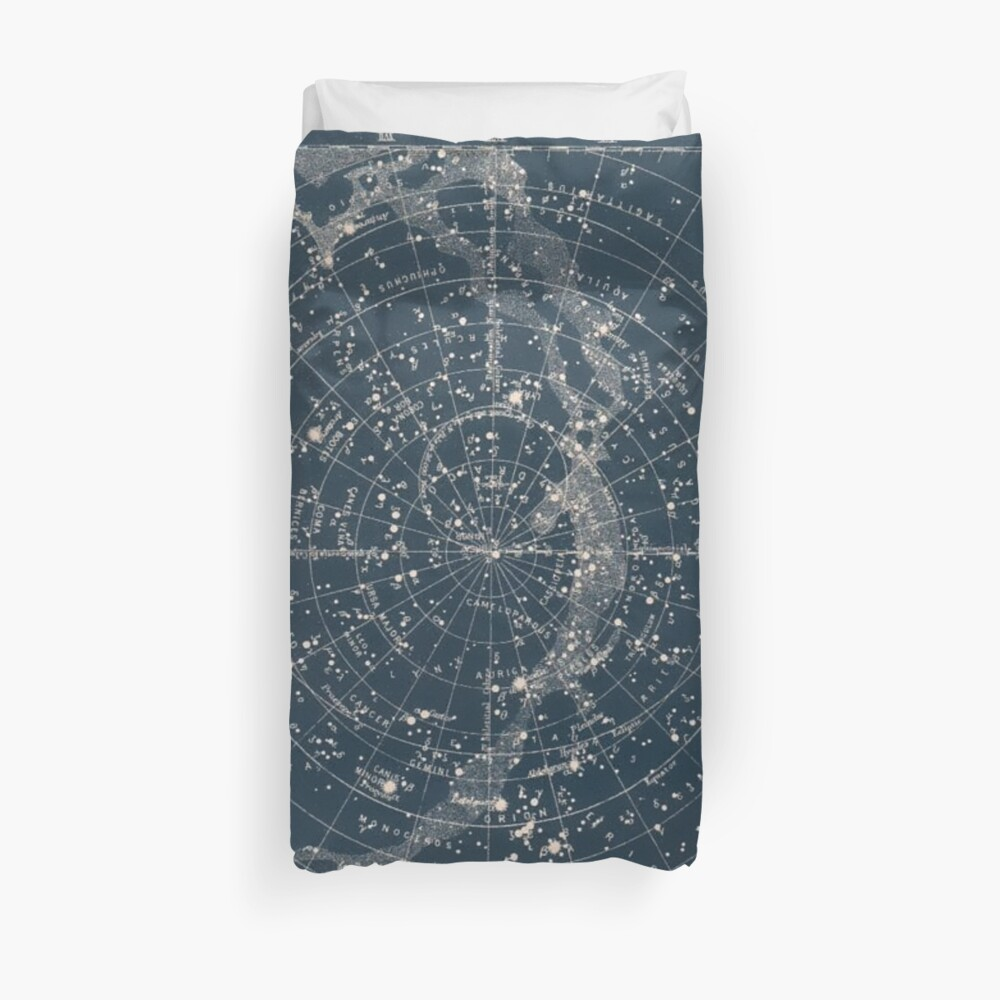 The Star Constellations Vintage 1900 Galaxy Duvet Cover