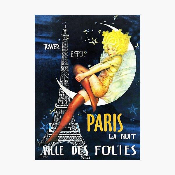 Paris By Night Vintage Ville Des Folies Travel Photographic Print