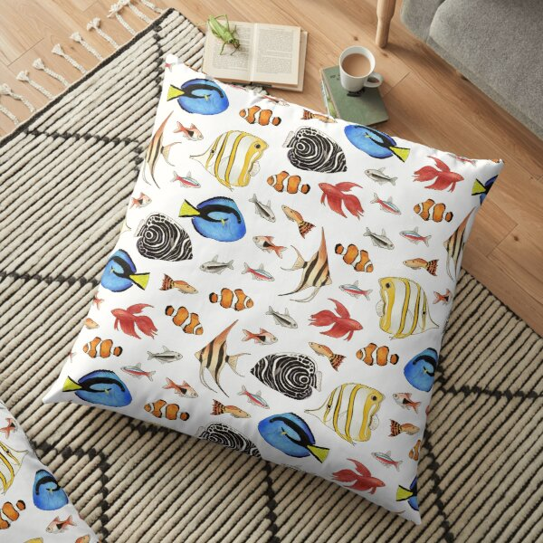 Tropical Fish on White - pattern Floor Pillow