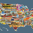Postcards Of The United States Vintage Usa All 50 States Map Choose Your Own Background by designturnpike