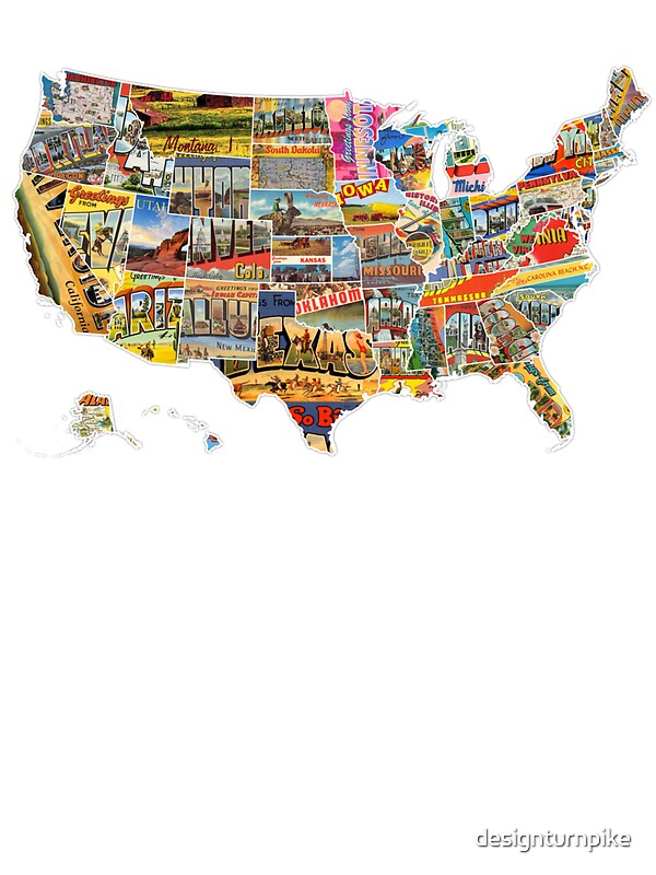 Postcards Of The United States Vintage Usa All States Map - Flat us map