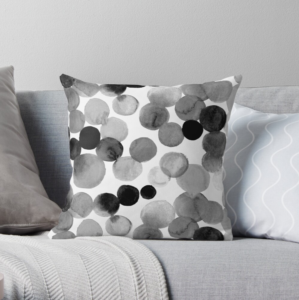 Watercolor Circles - Monochrome Throw Pillow