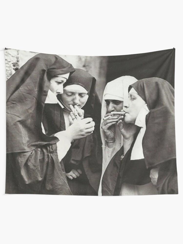 Alternate view of Nuns Smoking Tapestry