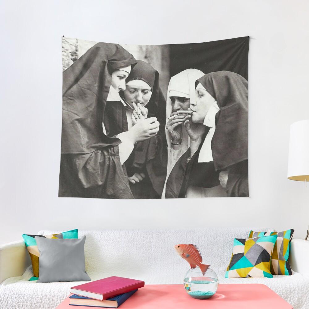 Nuns Smoking Tapestry