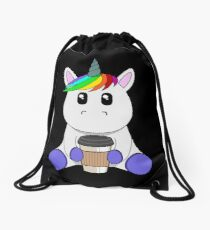 Unicorn with coffee to go cup | coffee lovers gift Drawstring Bag