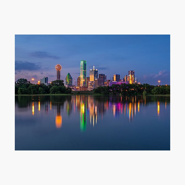 Dallas Skyline Trinity Reflection Photographic Print