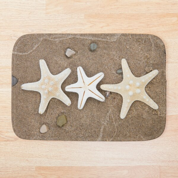 Starfish in the Sand Bath Mat