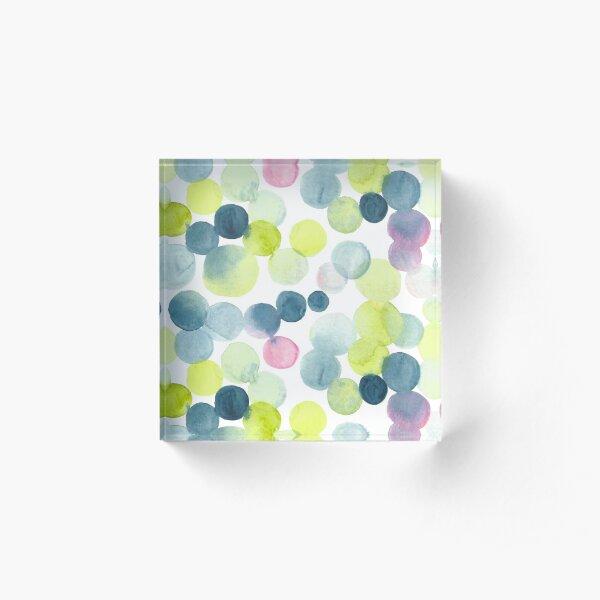 Watercolor Circles - Green, Blue, and Pink Acrylic Block