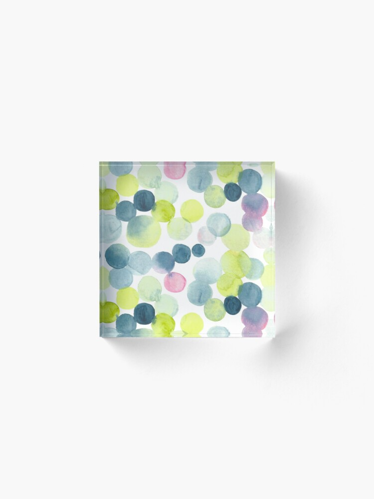 Alternate view of Watercolor Circles - Green, Blue, and Pink Acrylic Block