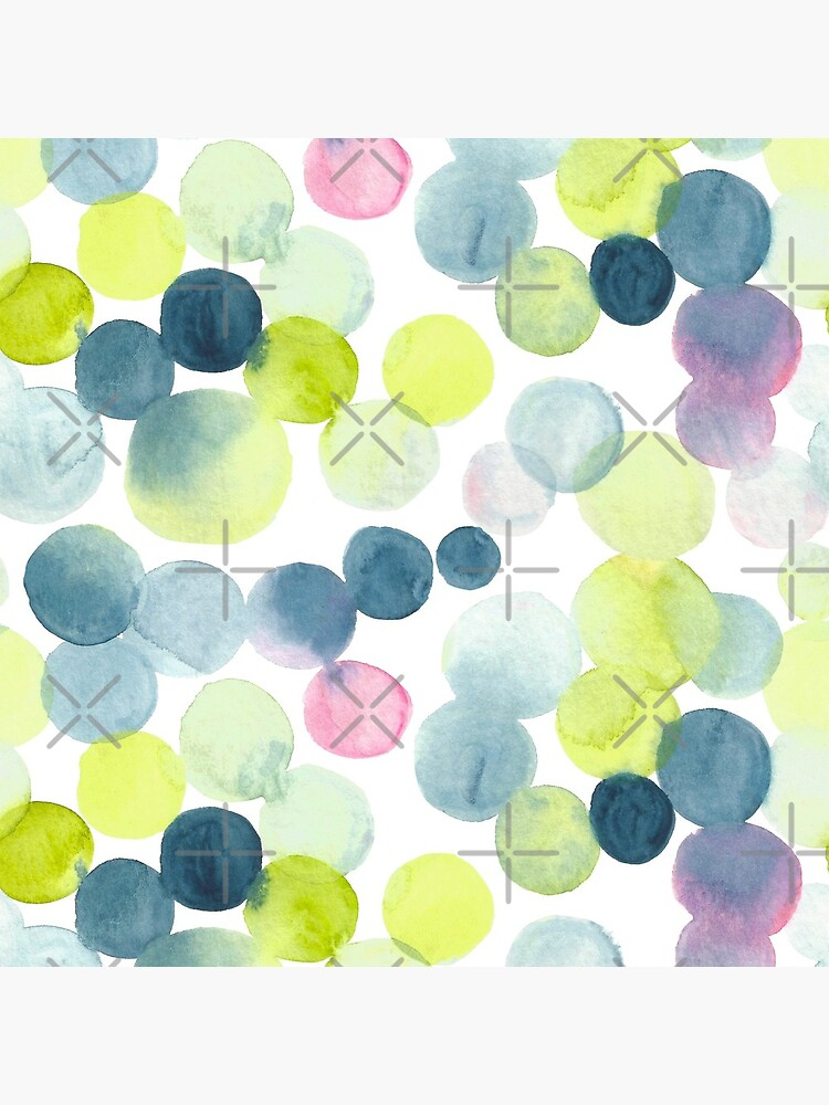 Watercolor Circles - Green, Blue, and Pink by annieparsons
