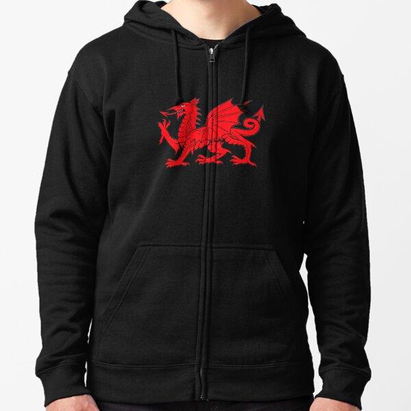 Y Ddraig Goch   The Red Dragon Zipped Hoodie