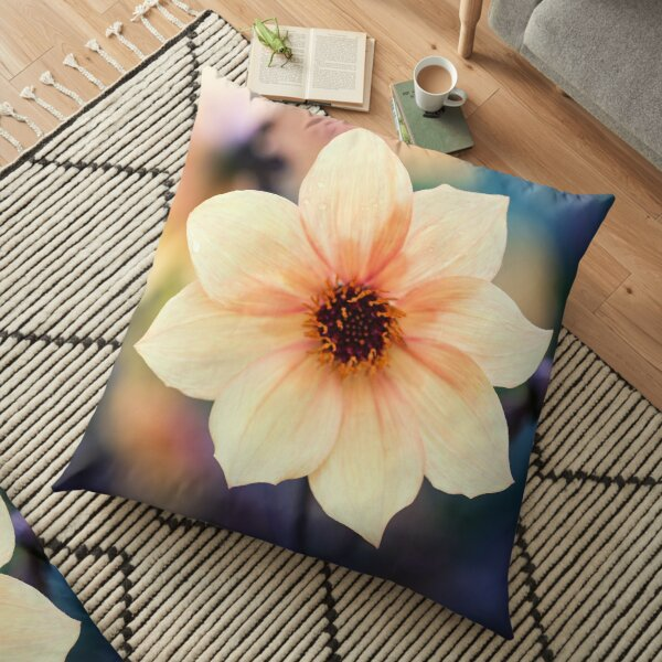Yellow Summer Flower Floor Pillow